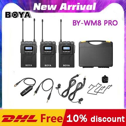 Boya BY-WM8 pro k1 k2 uhf dupla microfone sem fio entrevista mic 2 transmissores & 1 receptor para iphone dslr câmera de vídeo