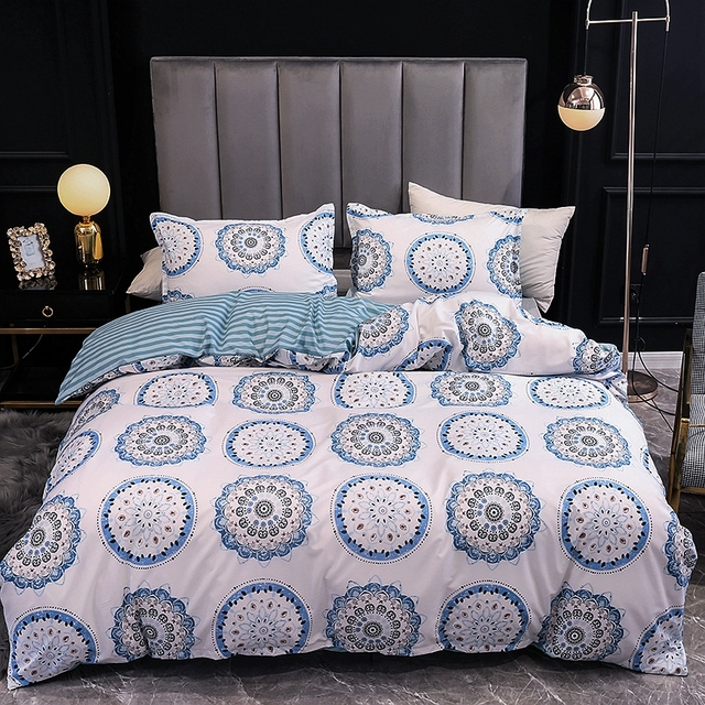 Duvet Cover And Pillow Case Blue Mandala