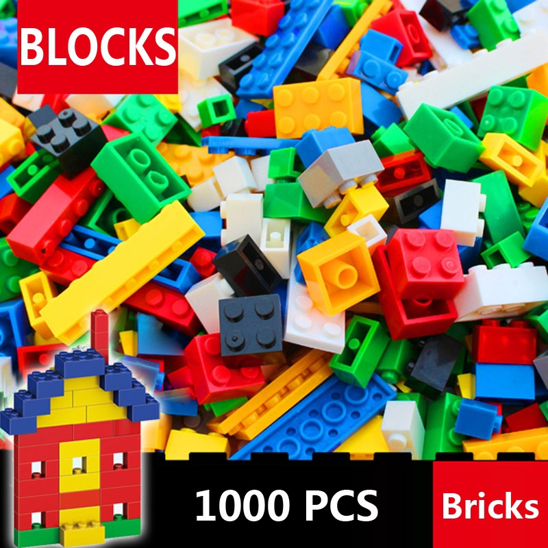 <font><b>1000</b></font> <font><b>Pcs</b></font> Building Bricks Set DIY Creative Brick Kids Toy Educational Building Blocks Bulk <font><b>Compatible</b></font> with image