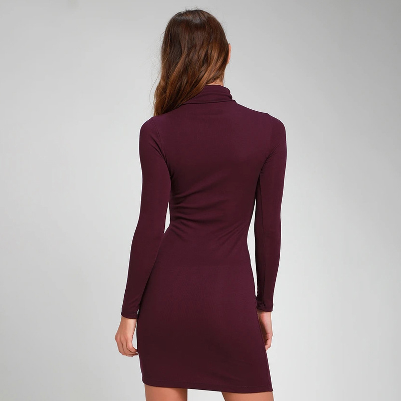ZAATON®  New stand collar long sleeve solid color sexy slim hip dress 3