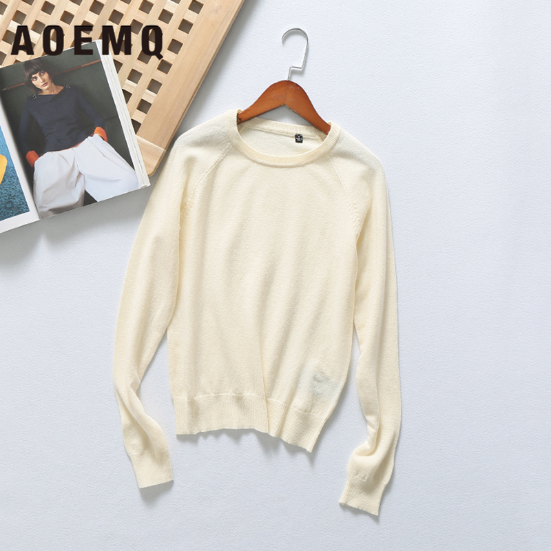AOEMQ Fashion Sweaters 12 Colors Candy Casual Winter Warm Sweaters O-Neck Collar Solid Pullovers Cotton Soft Women Clothing