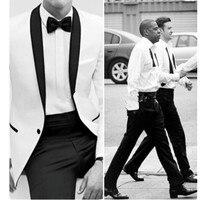 Fashion men's suits custom men's suits groom suits white jacket black shawls and pants 2Piece
