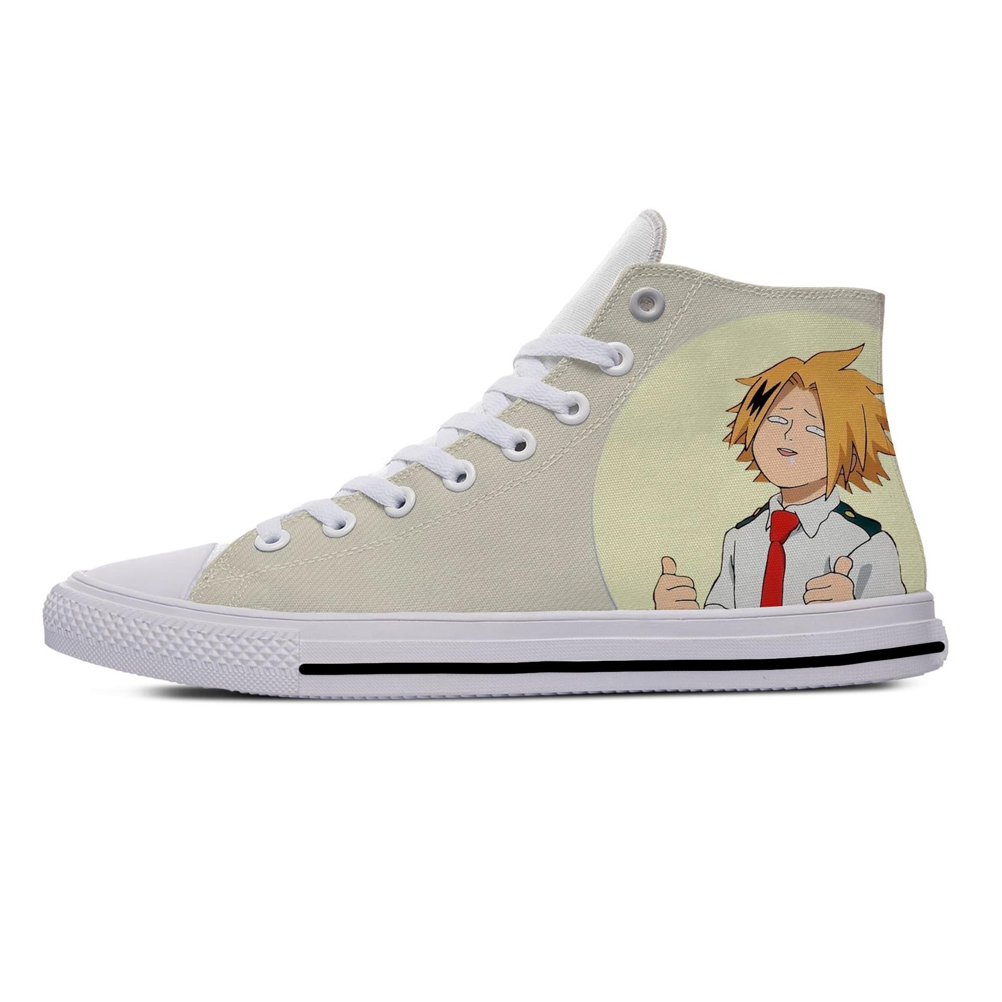 Japan Anime My Hero Academia Kaminari Denki Funny Casual Canvas Shoes High Top Harajuku Breathable 3D Printed Men Women Sneaker