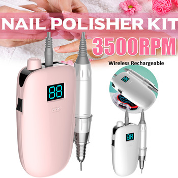Portable Rechargeable Nail Drill Machine 35000RPM Manicure Pen Machine Electric Nail File Nail Art Tools Set for Nail Drill bits