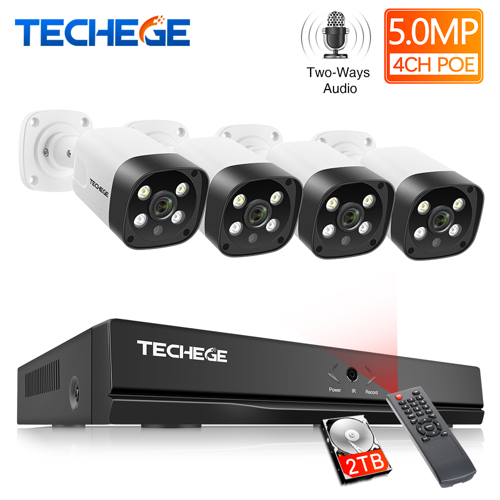 Techege 4CH 5MP Sistema de Câmera de Segurança De Detecção Humana Duas maneiras de Áudio POE IP Camera Kit de Vigilância CCTV Ao Ar Livre À Prova D' Água