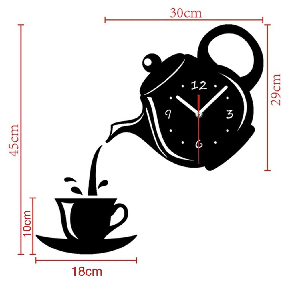 3D Wall Clock Creative DIY Acrylic Coffee Cup Teapot Decorative Kitchen Wall Clocks Living Room Dining Room Home Decor Clock
