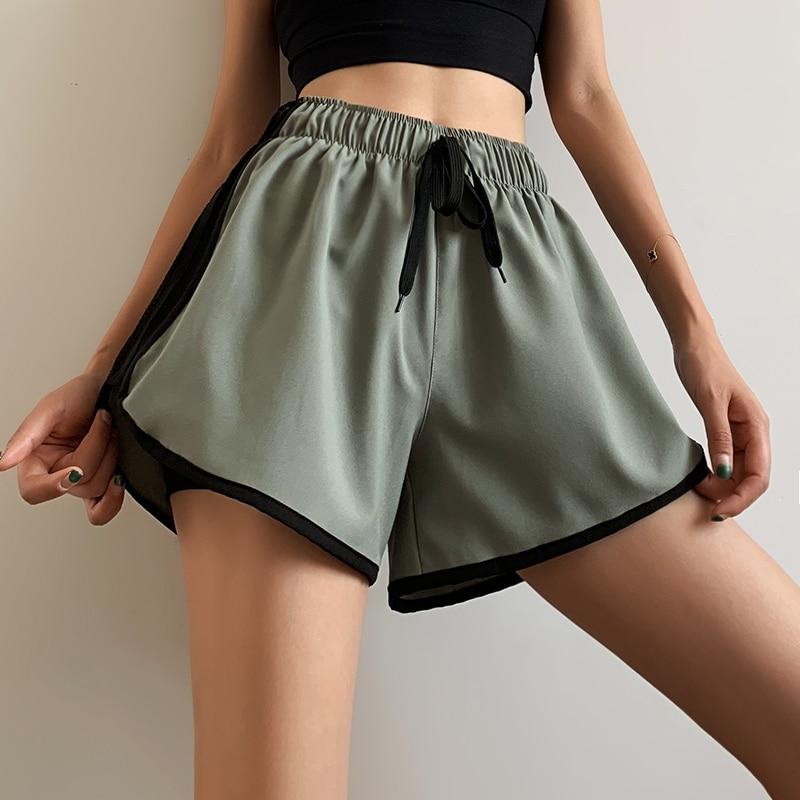 Sports Shorts Women Loose Summer Thin Wide Leg High Waisted Hot Pants Sexy Sweat Strap Shorts Women Skirt Tie Short Solid HH50DK