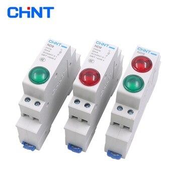 1PC CHINT ND9 luces piloto LED verde rojo AC/DC 24V 220V Riel DIN Modular lámpara indicador Luz 1