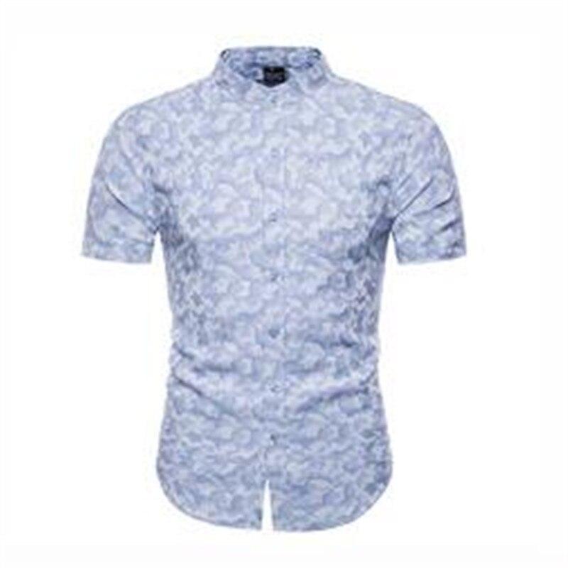 Hommes chemise 2019 PZ79 nouveauté marque Shor manches chemises en coton pour hommes Camouflage hommes vêtements décontracté hommes vêtements