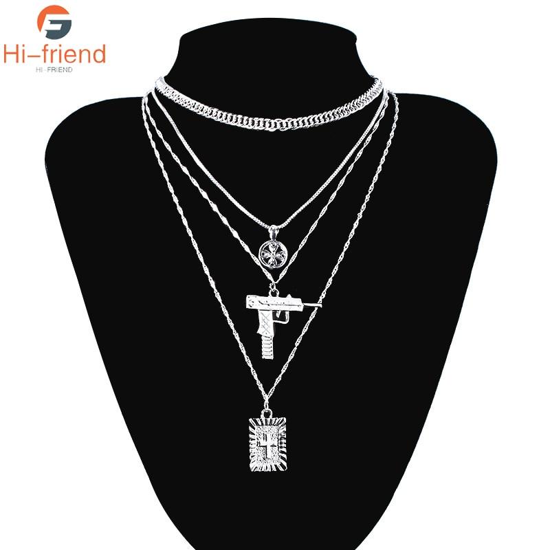 New Multilayer Gun Cross Hip Hop Necklace Harajuku Style Fashion Jewelry Jesus Punk Pendant Jewelry Gift