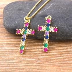 2020 gorąca sprzedaż 10 stylów krzyż naszyjnik kobiety miedzi Cubic cyrkon najwyższej jakości długi naszyjnik z łańcuszkiem biżuteria najlepszy prezent ślubny