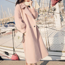 цена на New Wool Coat Women Autumn and Winter 2019 Casual Solid Color Lantern Sleeve Loose Long Wool Blends Outerwear Tops