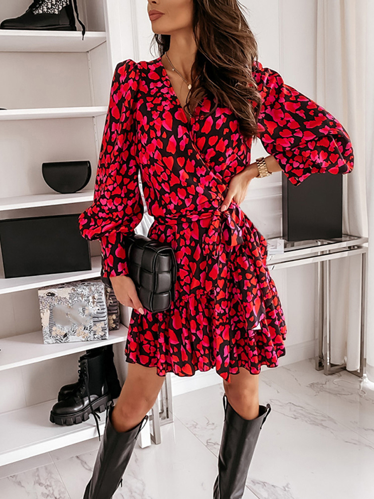 Dress Women Print-Wrap Long-Lantern-Sleeve Office Ruffles Elegant Autumn Red A-Line V-Neck
