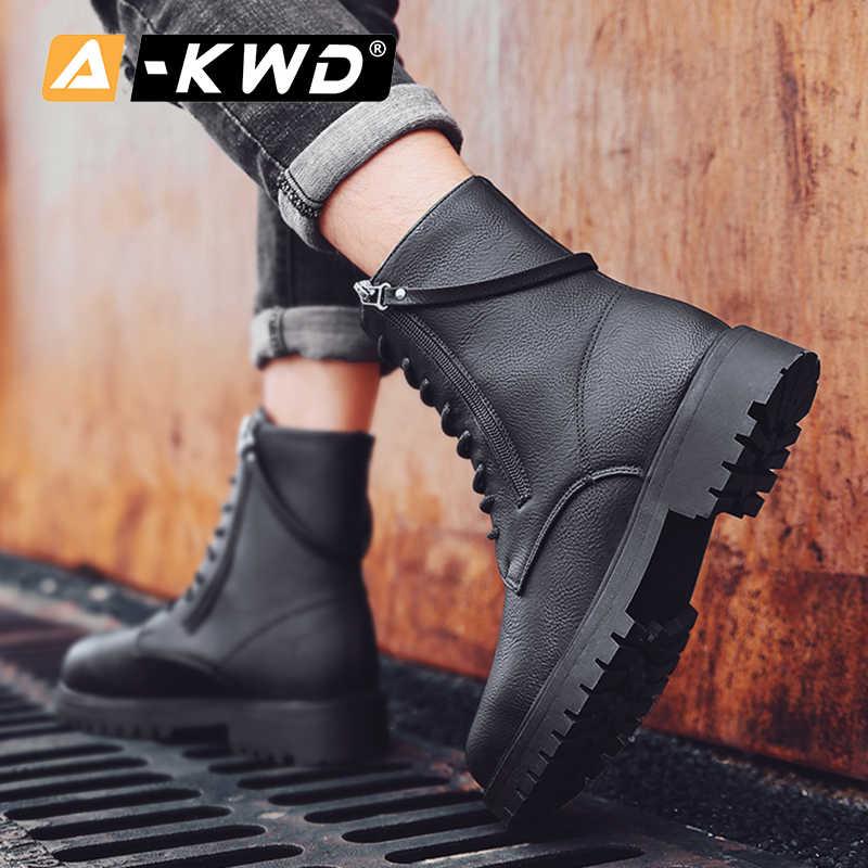 Moda siyah erkek ayakkabısı kış su geçirmez botlar erkekler Pu iş ayakkabısı yüksek üstleri ayakkabı adam açık rahat erkek botları Heren Schoenen