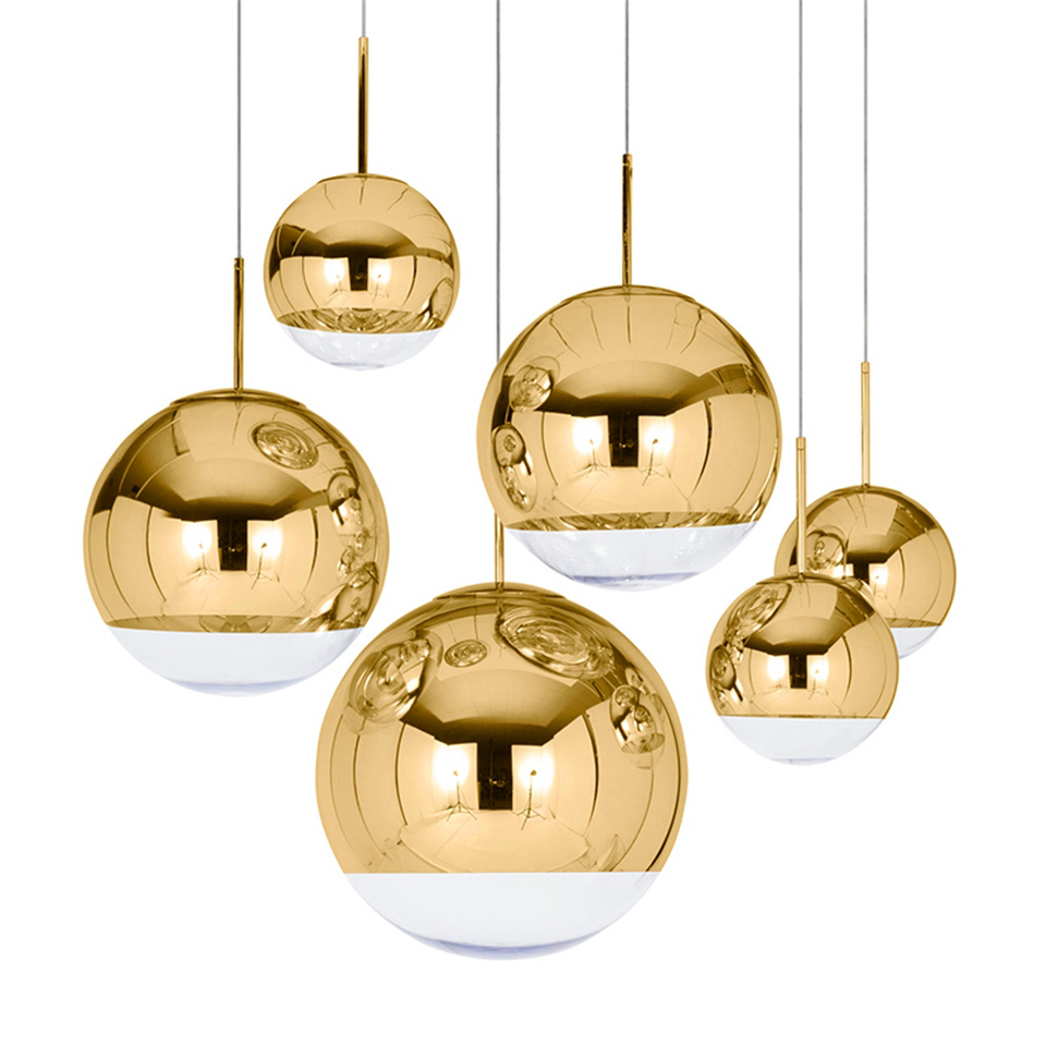 Nordic Industrial Gold Silver Glass Ball Loft Modern LED Pendant Lights Lighting Restaurant Bar Pendant Lamps Kitchen Fixtures