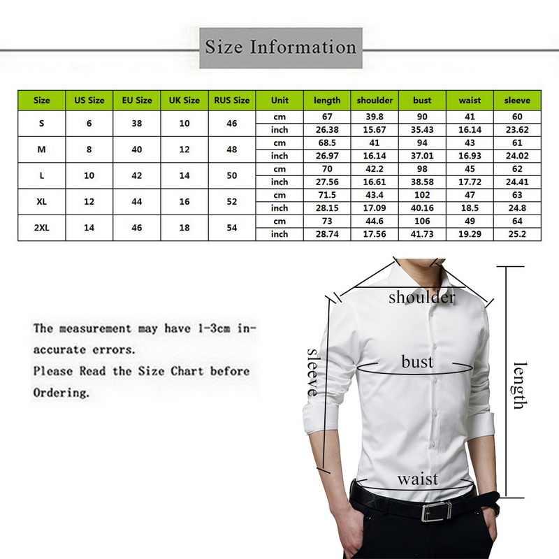 Nova chegada da moda masculina manga longa camisas casuais magro sólido vestido de negócios camisa primavera outono camisa masculina com botão camisas