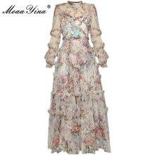 MoaaYina – robe de créateur, manches lanternes, maille imprimée, volants en cascade, robe de bal de vacances, printemps