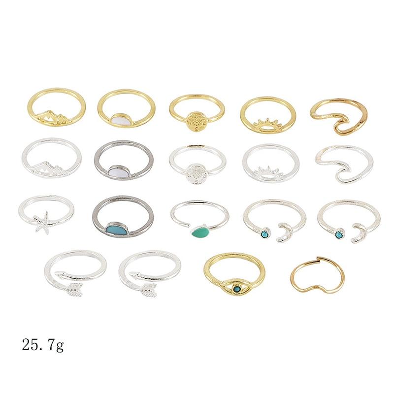 19 Pcs/ Set Boho Women Rings Set Compass Arrow Starfish Wave Moon Eyes Gem Gold Silver Opening Midi Ring Charm Lady Lover Gift