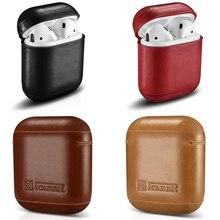 Rétro en cuir véritable étui pour casque housse de rangement pour Apple Airpods iPhone Bluetooth étui pour écouteurs boîtes étui de protection