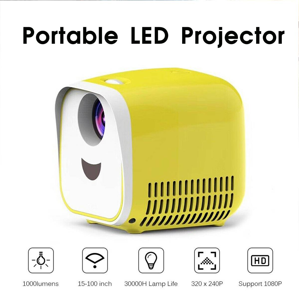 Mini Projector 1000Lumens Portable Projector Children Education Mini LED Home Beamer 4k projector 4K led projector for Christmas image