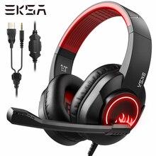 EKSA T8 מחשב משחקי אוזניות גיימר 3.5mm סטריאו Wired אוזניות עם מיקרופון רעש מבטל LED אורות עבור PS4/xbox אחד/טלפון