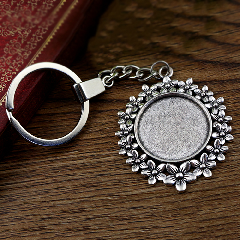 2pcs 25mm Inner Size Antique Silver Plated Cameo Setting Base;Handmade Cameo Setting, Metal Key Chains Accessor (SG-A5-03)
