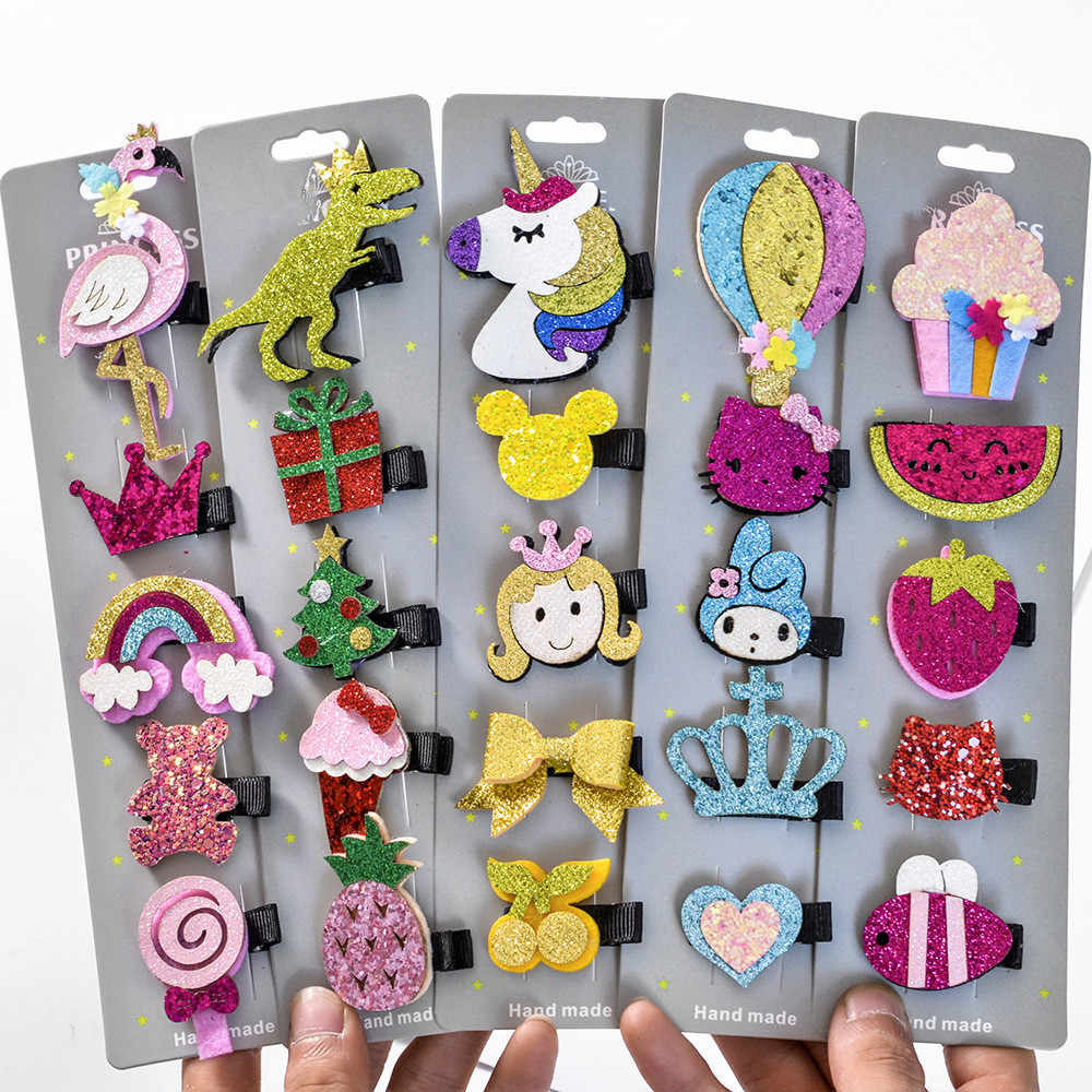5 Pcs/Set Glitter Cartoon Unicorn Flamingo Sequins Hair Clips Girls Animal Hairpin Paillette Hair Pins Toddler Hair Accessories
