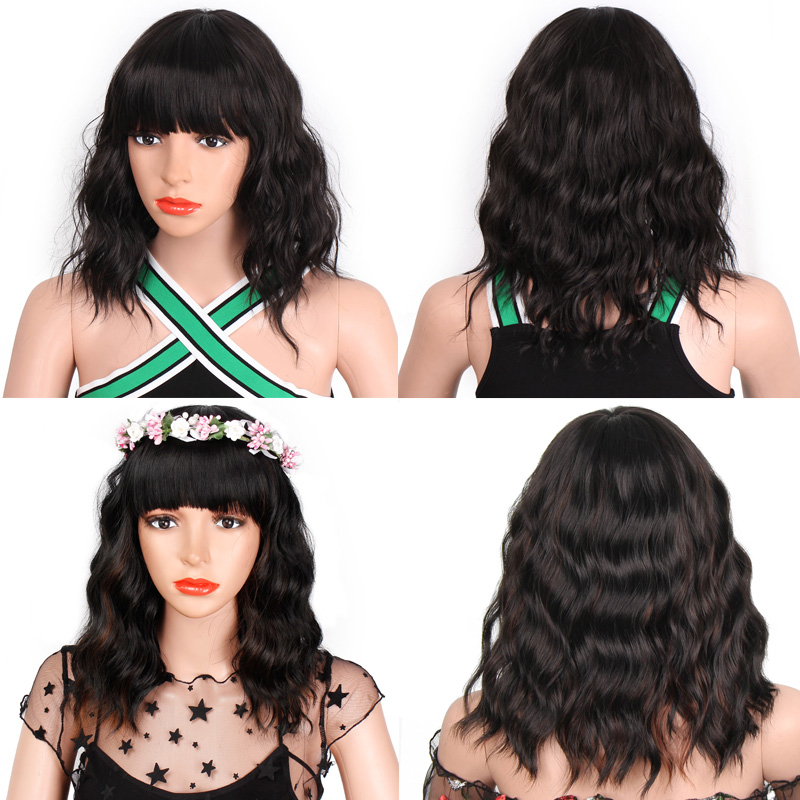 AISI BEAUTY Cut Synthetic Short Wigs For Women Black With Bangs Water Wave Hair Wig Natural Cosplay Purple Pink
