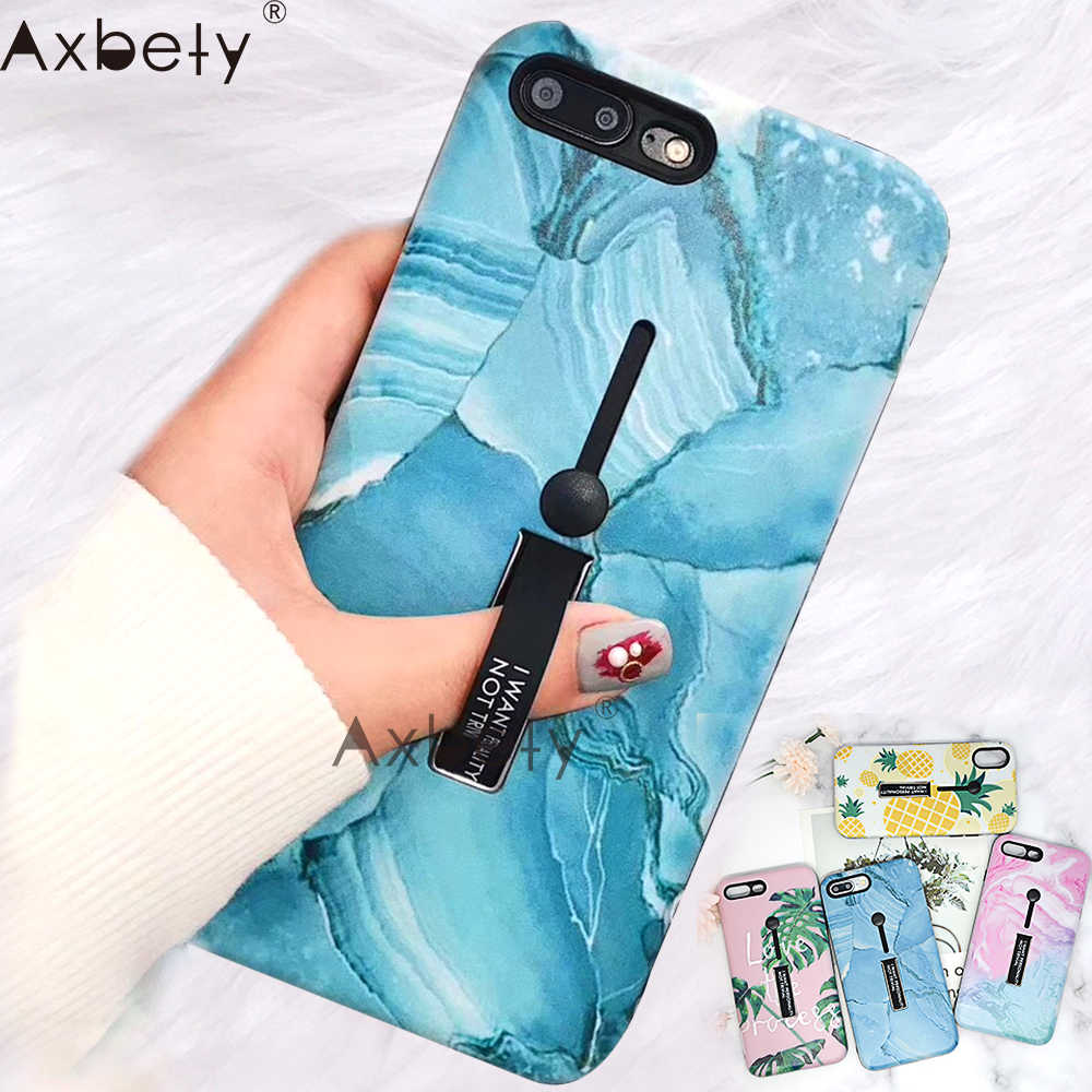 AXBETY Voor iPhone 8 XR X 11 Pro XS MAX Case Mode Bloem Marmer Telefoon Cover Voor iPhone 7 Plus 8 6S Verbergen Loop Ring Grap Case