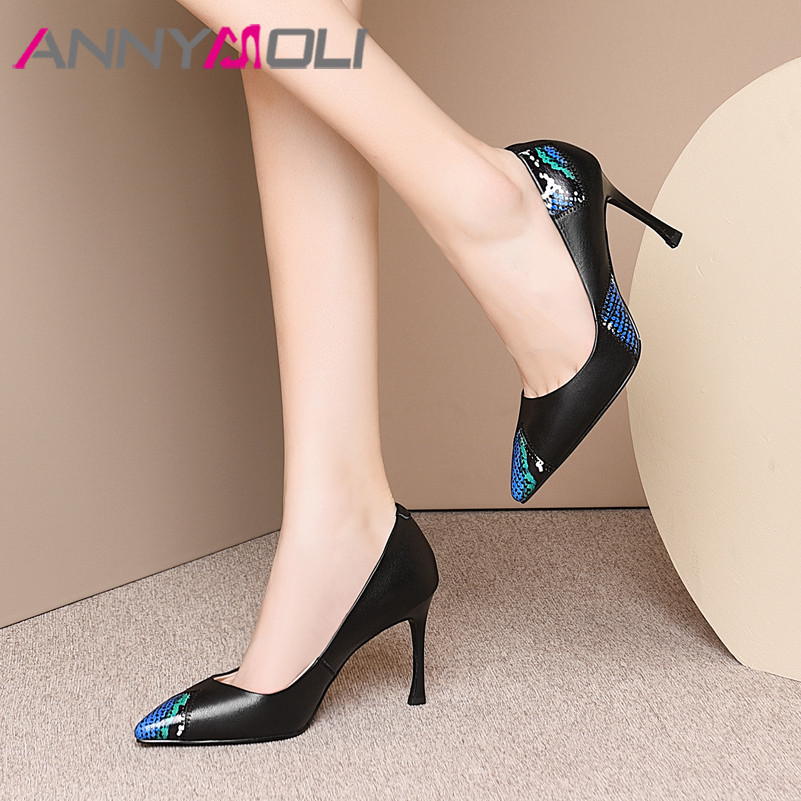 ANNYMOLI High Heels Women Pumps Natural Genuine Leather Thin High Heels Shoes Real Leather Pointed Toe Shoes Ladies Size 33-39