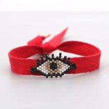 Go2boho Miyuki Bracelet mauvais œil Bracelets pour femme bijoux mode rouge tressé corde bijoux à la main japonais perle Pulsera