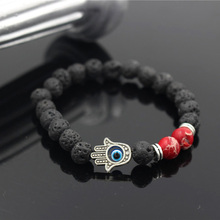 Natural Lava Stone Beads Bracelet Hand of Fatima Hamsa Charm Bracelets Elastic Evil Eye Amulet Beads Men Women Bracelet fashion men 6mm bead bracelets classic natural matte stone beads charm handmade bracelet