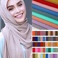 Мягкий простой шарф из шифона с пузырьками  шарф для женщин  мусульманский головной убор  шаль для девушек  однотонный шарф из Пашмина  шарф ...