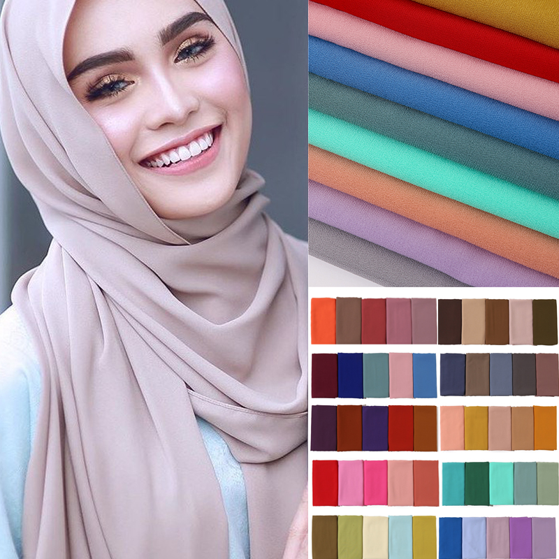 2020 Soft Plain Bubble Chiffon Scarf Hijab Women Muslim Headband Shawl Lady Wraps Solid Foulard Pashmina Scarves Headscarf