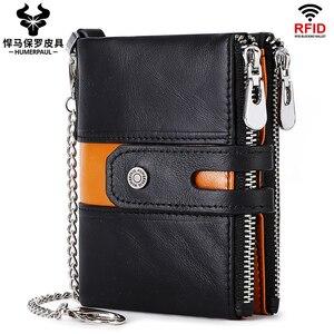 ZZSLHL 2020 New 100% Genuine Leather Men Wallet Double Zipper Coin Purse Small Mini Card Holder Portomonee Male Walet Pocke