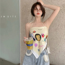 Summer sling 2021 new hanging neck printing T-shirt women's tube top tall top women sexy vest printed sling outside open back de