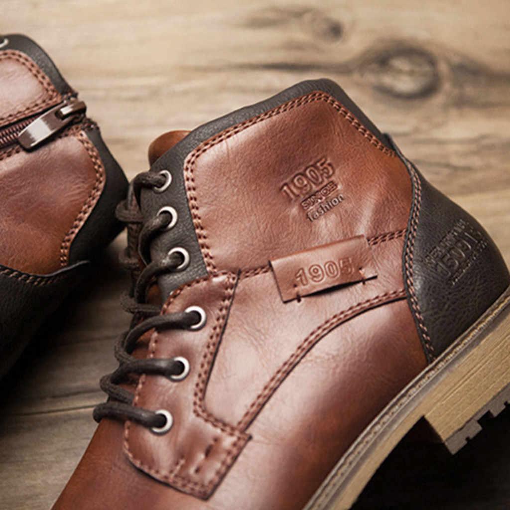 Moda Retro Ayak Bileği Deri Erkek Botları Yüksek Üst Yan Fermuar Takım Siyah Kahverengi Botları Açık Çöl Botları Moda erkek ayakkabısı