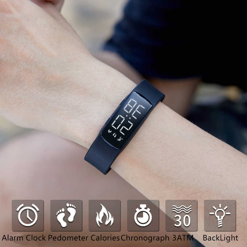 Lüks marka akıllı saat kadın spor saatler kalori pedometre spor kol saatleri su geçirmez uyku Tracker akıllı izle 2019