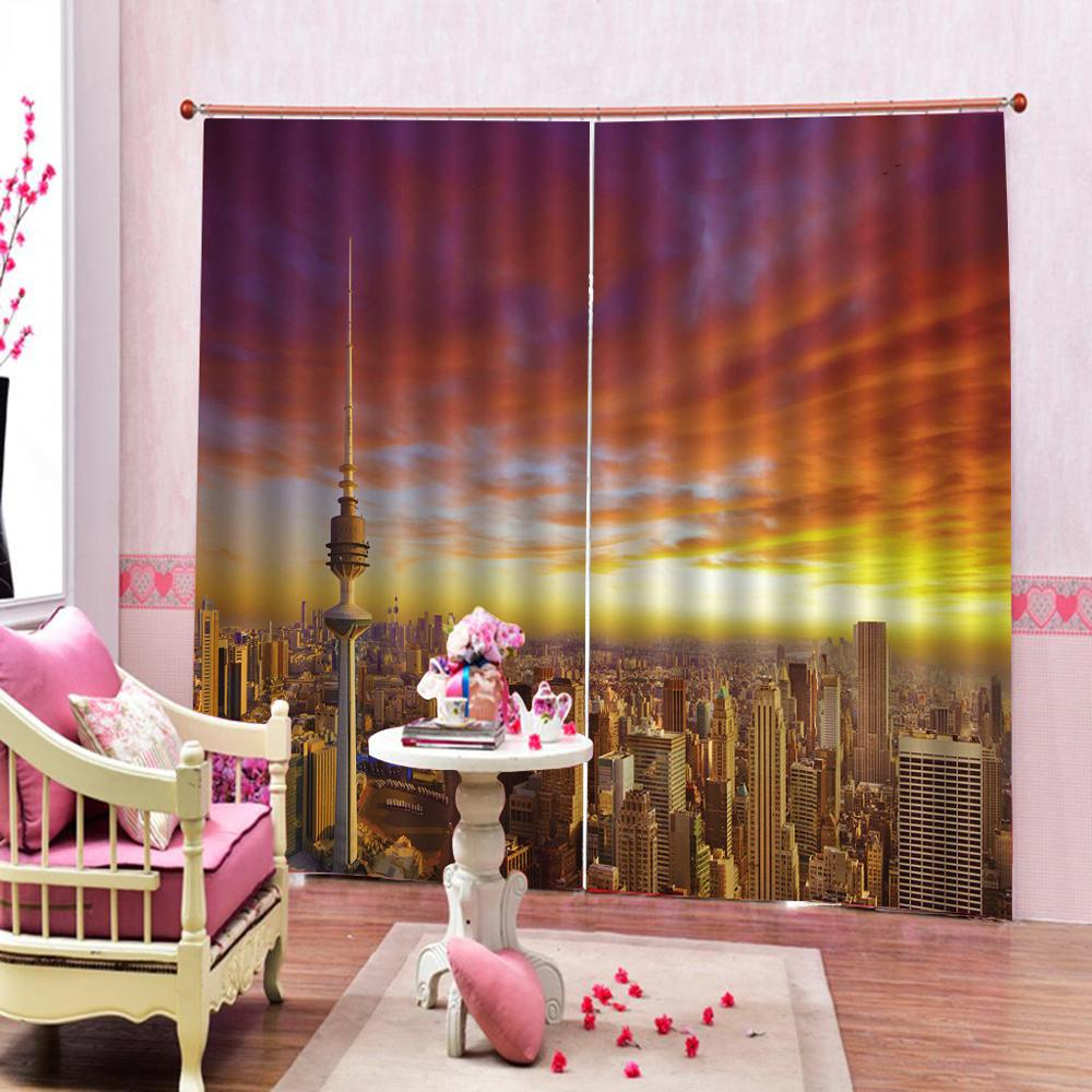 sunset city building curtains 3D Curtain Luxury Blackout Window Curtain Living Room Blackout curtain