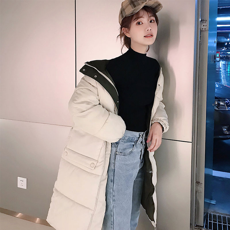 Chic Women Long Hooded Bakery Winter   Down     Coat   Student Heavy Jacket Oversize Thick Warm Cotton Padded Wadded Parkas Big Pocket