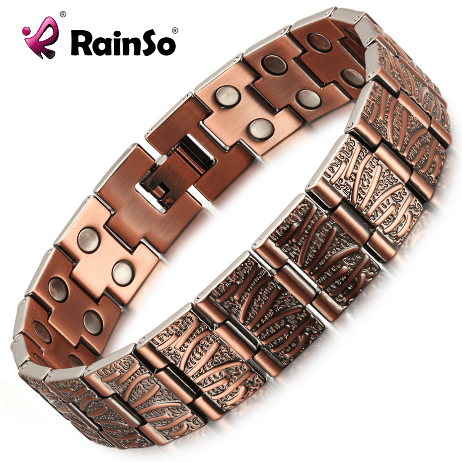 RainSo 2019 Vintage Pure Copper Magnetic Pain Relief Bracelet for Men Therapy Double Row Magnets Link Chain Homme Drop-ship(China)