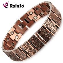 RainSo Vintage Reinem Kupfer Magnetische Schmerzen Relief Armband für Männer Therapie Zweireihig Magneten Link Kette Homme Drop schiff 2020