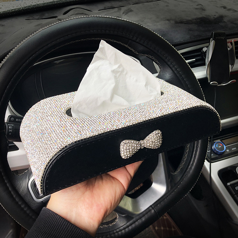 Qi Yong Tissue Box Cover Diamond Set Car Mounted Paper Extraction Box Creative Car Decoration Decorations Women's Cute Cartoon C