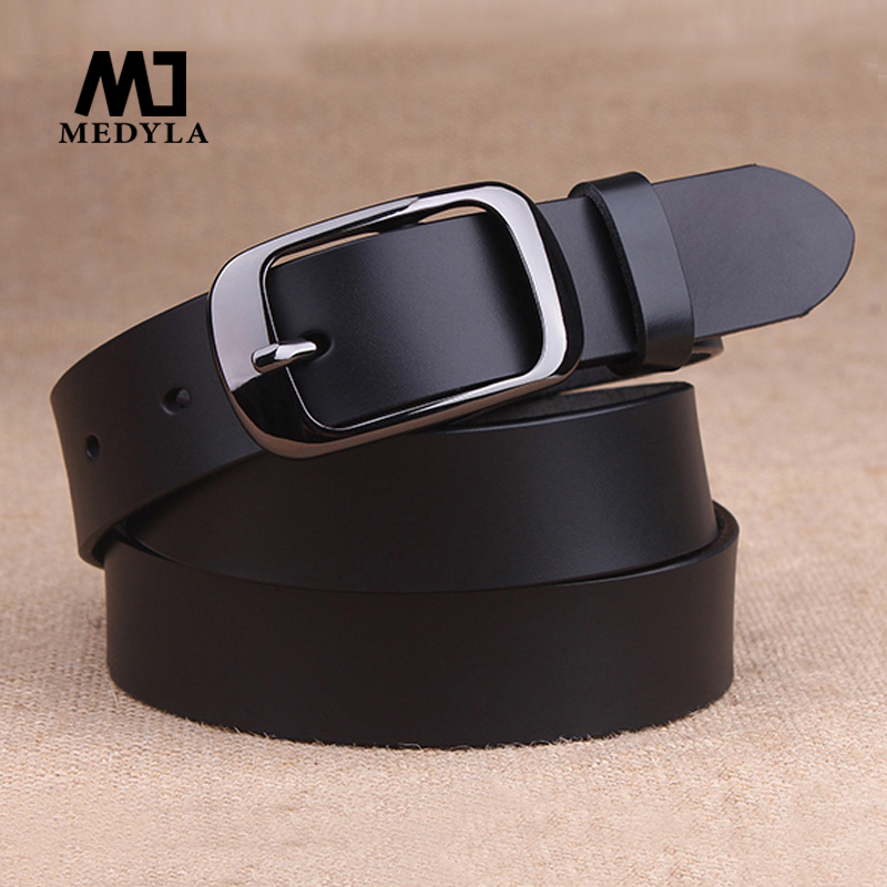 Medyla Women's Genuine Leather Fashion Retro Belt High Quality Luxury Brand Ladies Metal Black Buckle New Belt With Jeans