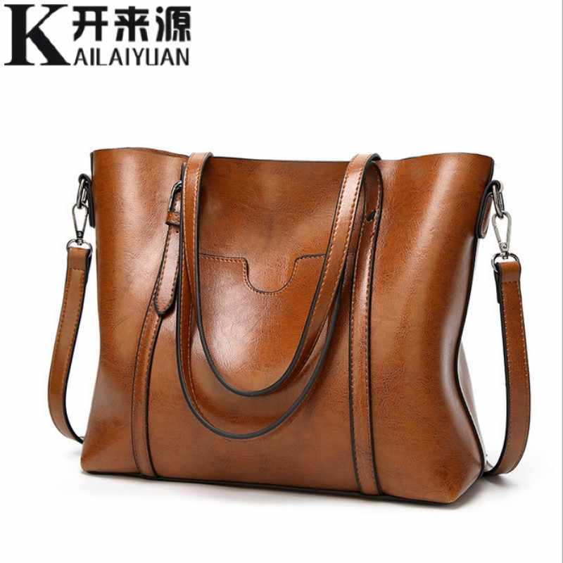 100% Genuine leather Women handbags 2019 New Classical wind portable big bag shoulder bag temperament female tote bag