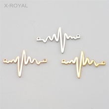 X-ROYAL 10Pcs/lot Stainless Steel Geometric Electrocardiogram Charms Double Hole DIY Jewelry Making Findings Bracelet Connectors