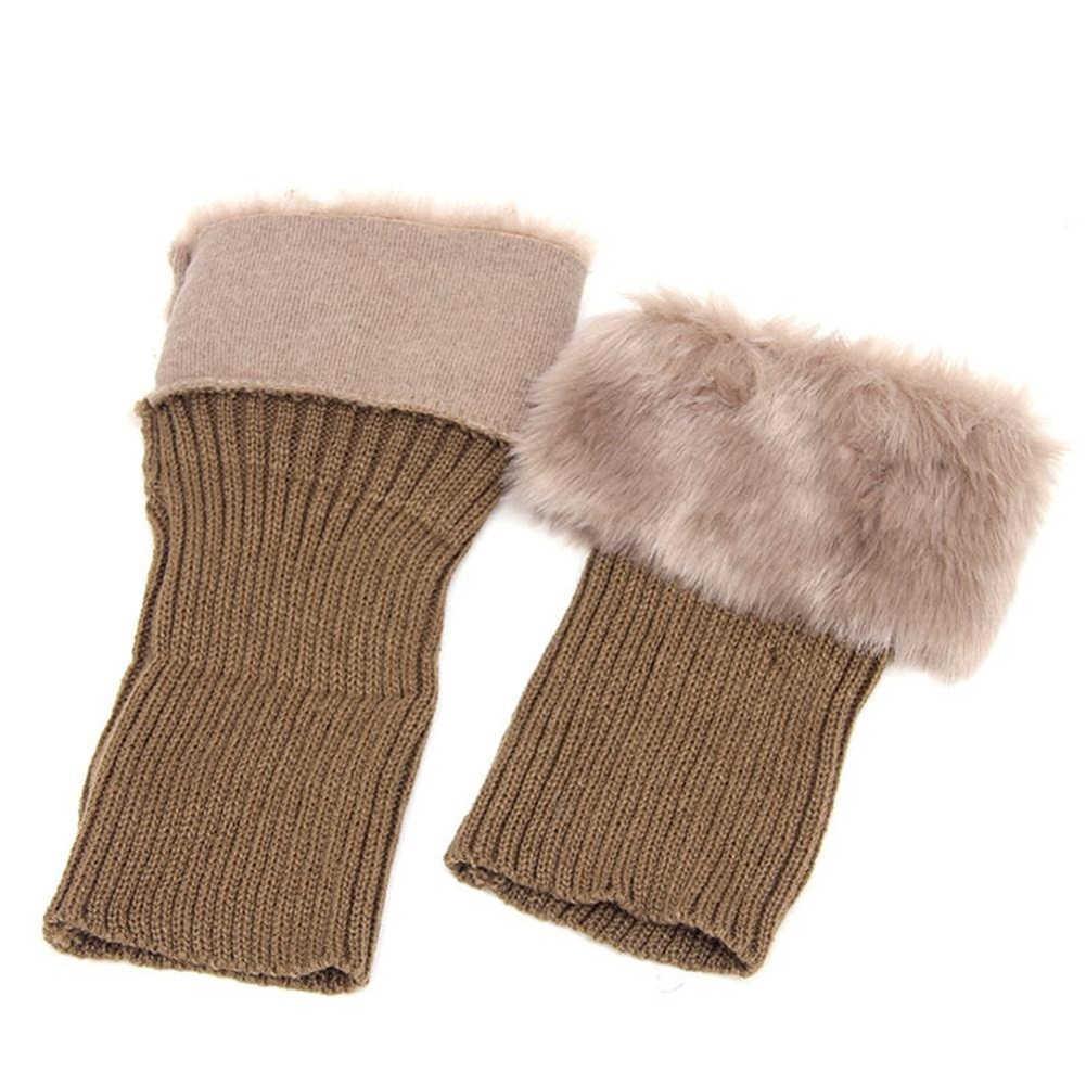 Zimowe skarpetki damskie ciepłe Faux futro dzianina szydełkowa getry Boot skarpetki Toppers mankiety