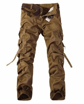2019 New Men Cargo Pants army green big pockets decoration mens Casual trousers easy wash male autumn army pants plus size 42 - 29, dark yellowish brown