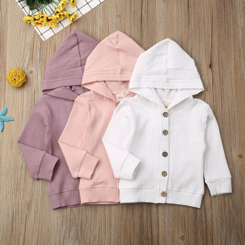 Infant Baby Girl Clothes Hooded Button Coat Fall Winter Jacket Kids Outerwear