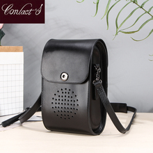 Contact's Genuine Leather Mini women shoulder bag luxury crossbody bags for women 2020 Girls Brief Flap phone pouch bolsos mujer